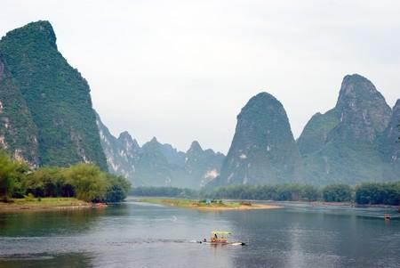 near: Bamboo raft on the Li river near Yangshuo, Guanxi province, China