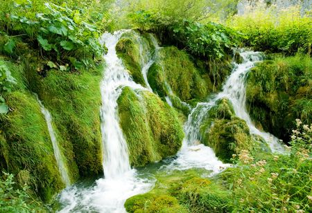plitvice: Small waterfall at Plitvice national park (Plitvicka jezera), Croatia Stock Photo