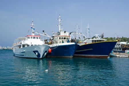redes de pesca: Los buques de pesca en el puerto de Vrsar, Istria, Croacia,
