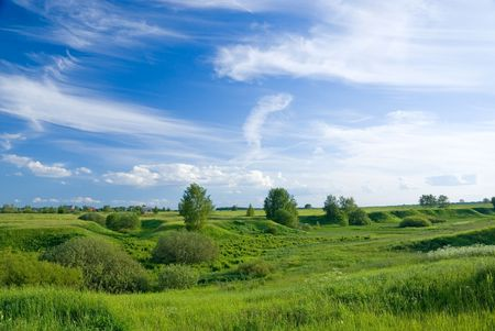 Summer russian landscape with fields and meadows Stock Photo - 4474298