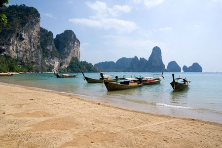 Traditional longtail boats on the Tonsai beach, Krabi province, Thailand Stock Photo - 4474406
