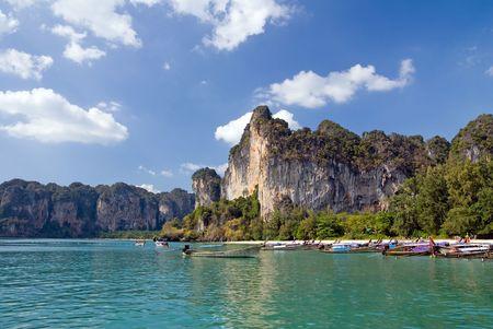 krabi: Railay spiaggia, provincia di Krabi, Tailandia Archivio Fotografico