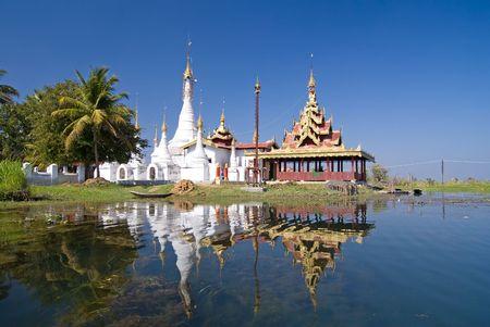 inle: Padogas of Buddhist monastery -Inle lake, Shan state of Myanmar (Burma)