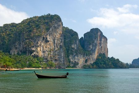 railay: Carst cliffs of Railay beach, Krabi province, Thailand