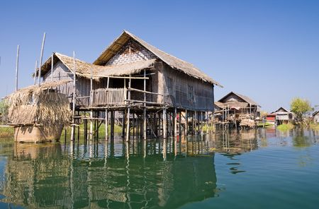 inle: Traditional wooden stilt houses at the Inle lake, Shan state, Myanmar (Burma)