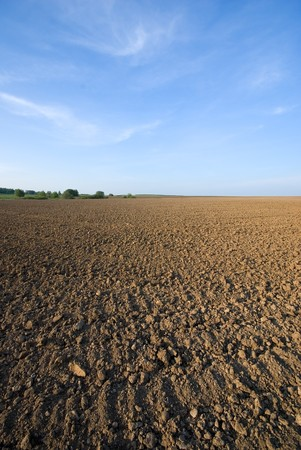 ploughed: ploughed field and blue sky