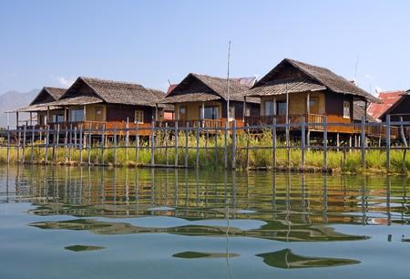 inle: Stilt bungalows on the Inle lake, Shan state, Myanmar (Burma)