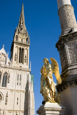 zagreb: Golden statue of angel near Cathedral of Virgin Mary, Zagreb, Croatia