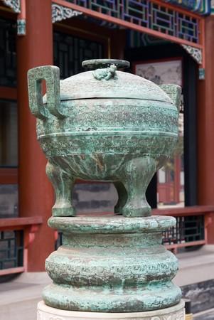 bronze bowl: Bronze bowl, Beijing, China Stock Photo