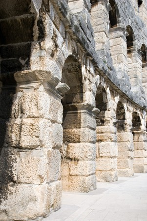 1st century ad: Fragment of Ancient roman amphitheatre (Arena), was built in the 1st century A.D., Pula, Croatia Stock Photo