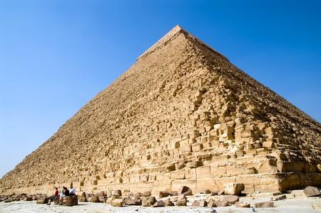 chephren: Wide angle view of pyramid of pharaoh Chephren , Egypt