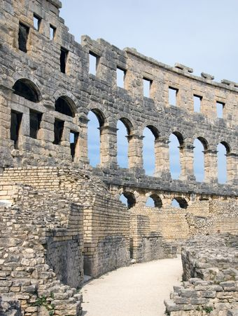 1st century ad: Ancient roman amphitheatre (Arena), was built in the 1st century A.D., Pula, Croatia