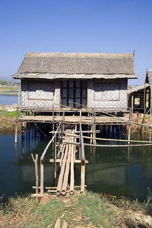 stilt house: Traditional wooden stilt house at the Inle lake, Shan state, Myanmar (Burma) Stock Photo