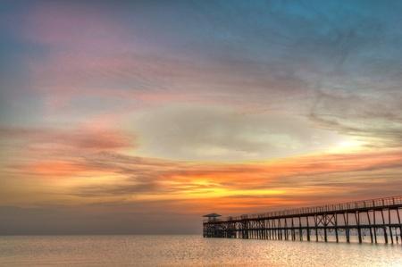 Sunrise on the pier Reklamní fotografie