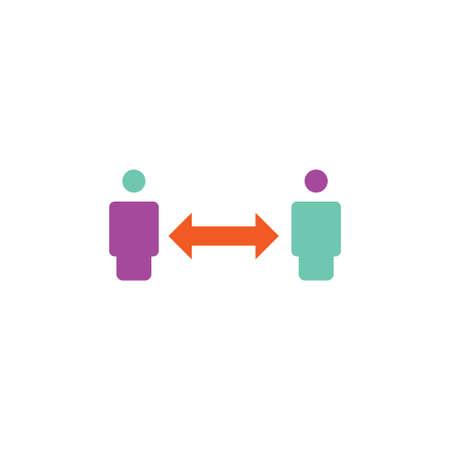 social distance vector logo design template