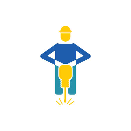 road construction vector icon design template