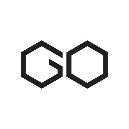 go initial letter vector logo icon Ilustração