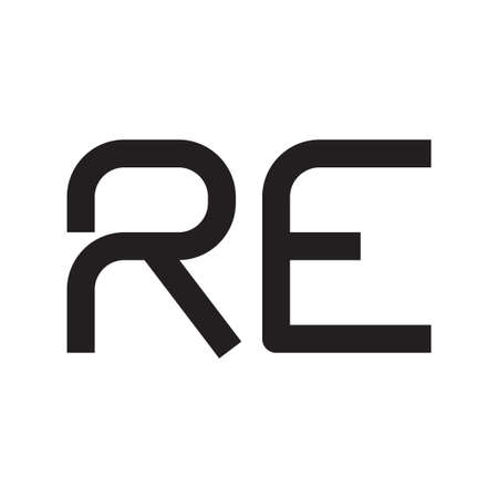 re initial letter vector logo icon