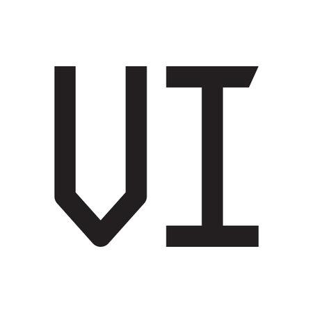 vi initial letter vector logo icon