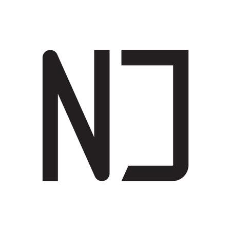 nj initial letter vector logo icon