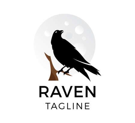 raven vector logo template design