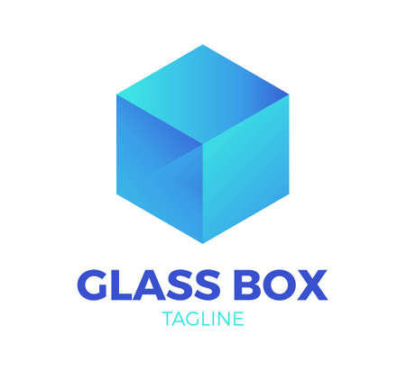 glass box vector logo template design