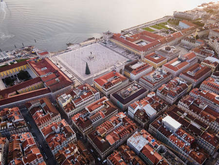 Aerial view of the beautiful Lisbon city center in Portugal. Beautiful aerial view of the classical european capital city with the typical historical architecture with the church in the middle.