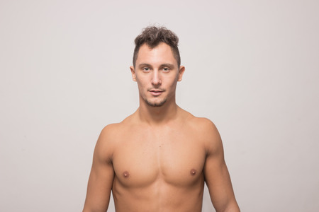 upper body: one adult young man, 25 years old, upper body