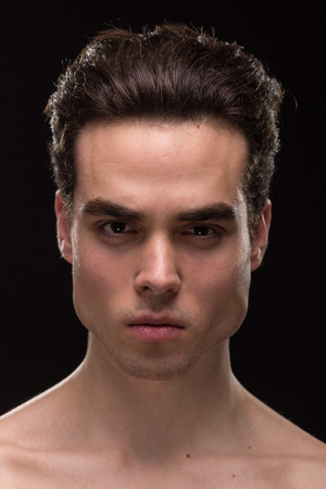 young adult man model head face shoulders shirtless closeup jawline
