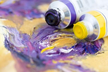 accomplishing: Purple and Yellow Stock Photo