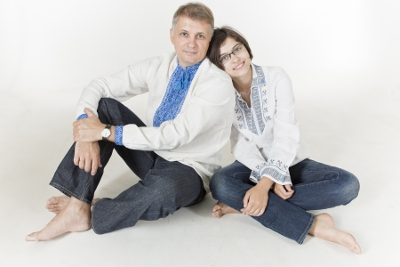 Father and daughter in Ukrainian ethnic clothes Stock Photo - 21361420