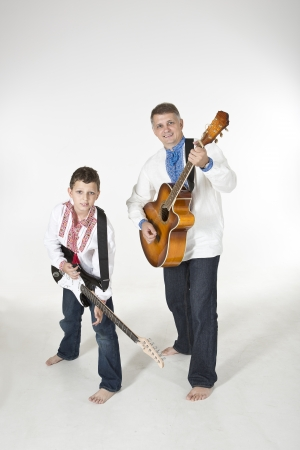 duet: Father and son guitar duet Stock Photo
