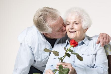 Affectionate senior couple photo