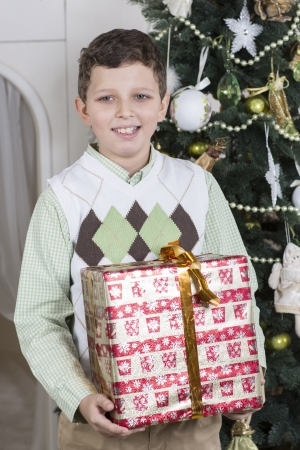 Boy got a big Christmas gift photo