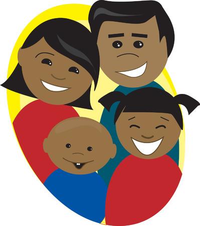 Happy Hispanic family Иллюстрация