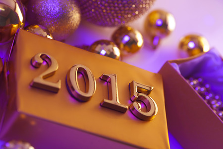 new year eve beads: Christmas decorations and golden figures