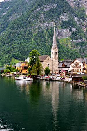 Beautiful view of classic buildings in Hallstatt of Austria