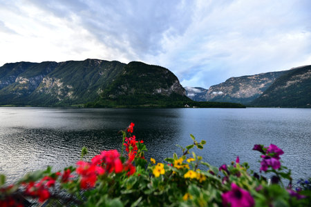 Landscape of mountain and lake in Hallstatt of Austria