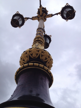 A lamp post outside the castle in Madrid Spain. Absolutely beautiful lights.