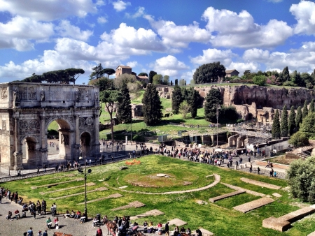 View from inside the Colosseum in Rome Italy