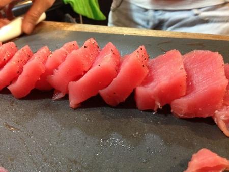 sear: About to sear fresh ahi tuna