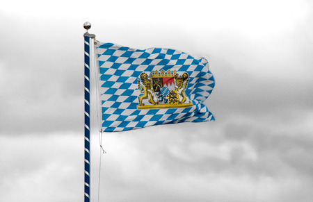 eduard: Unofficial Flag of Bavaria with national emblem Stock Photo