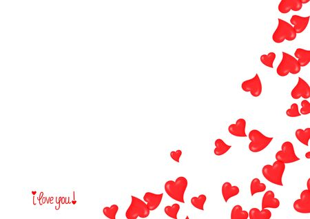 Valentine`s day concept background. Hearts background design. Red valentine hearts and I love you text on white background isolated. Banco de Imagens