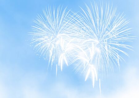 Abstract fireworks on blue background. Celebration festival wallpaper. Illustration.