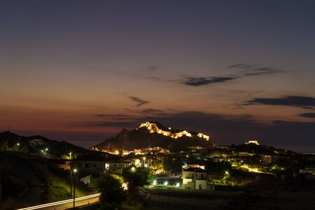 Nightfall with beautifull sky above Byzantine Castle in Myrina, Greece