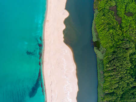 aerial view of Sea,sand river and trees Banco de Imagens