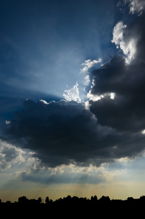 rays of sun through the clouds Stock Photo