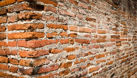 Close up of angle  brick wall