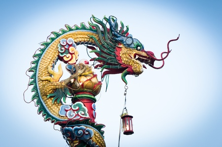Dragon statue on blue sky