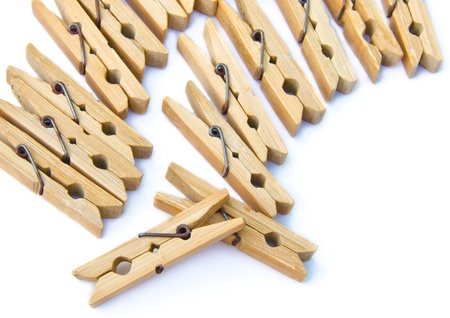clothespins: bamboo wooden clothespins Stock Photo